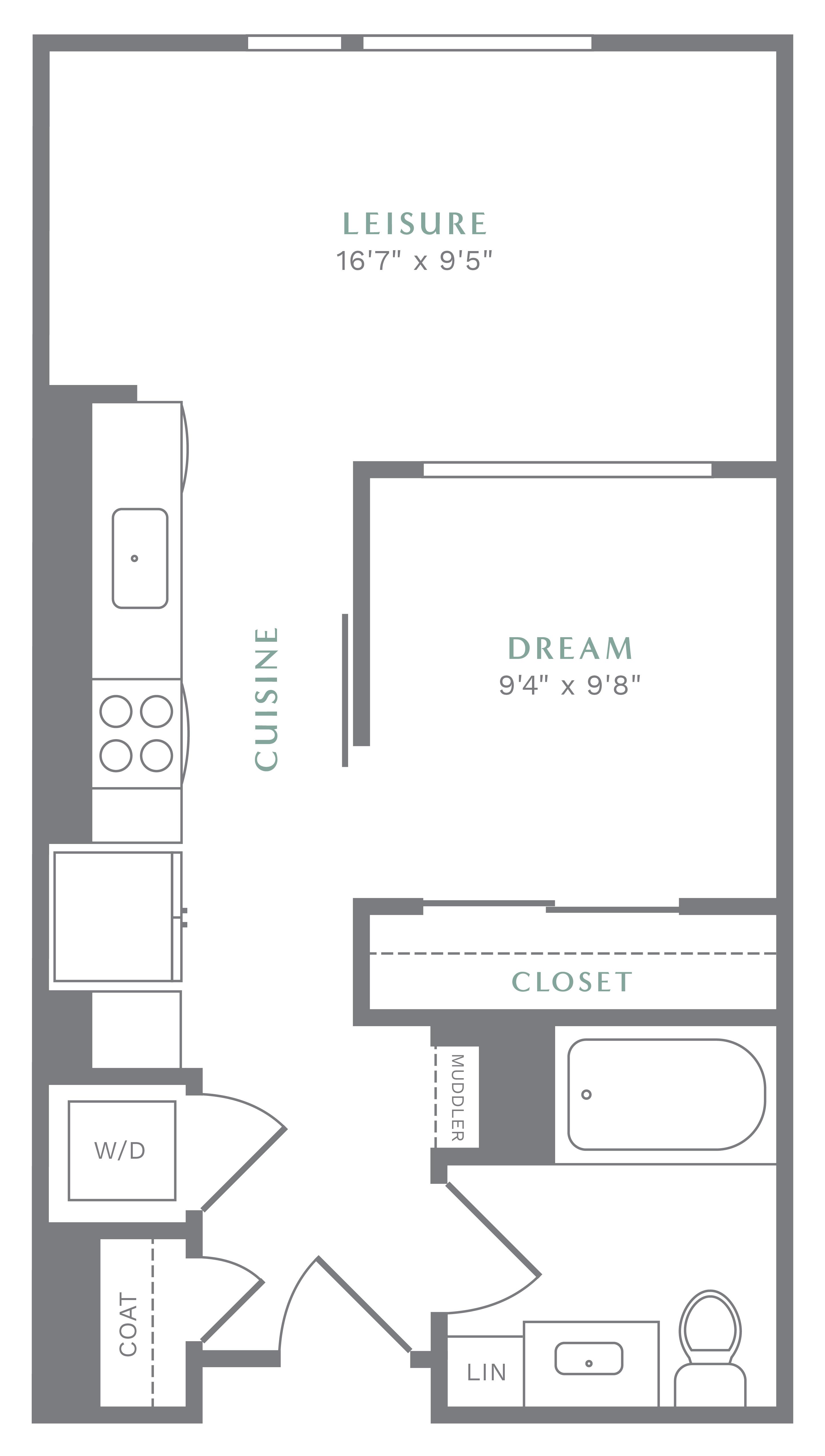 Alexan Heartwood One Bedroom Floor Plan A2