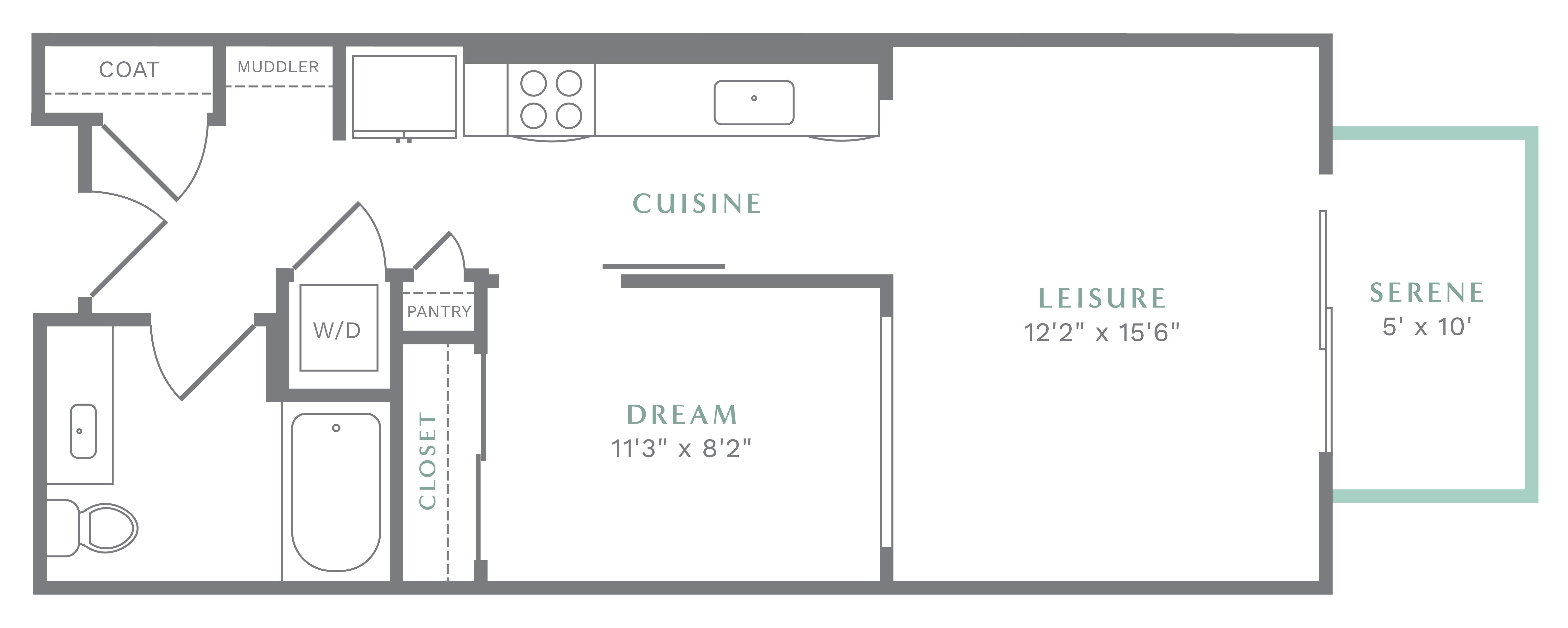 Alexan Heartwood One Bedroom Floor Plan A1