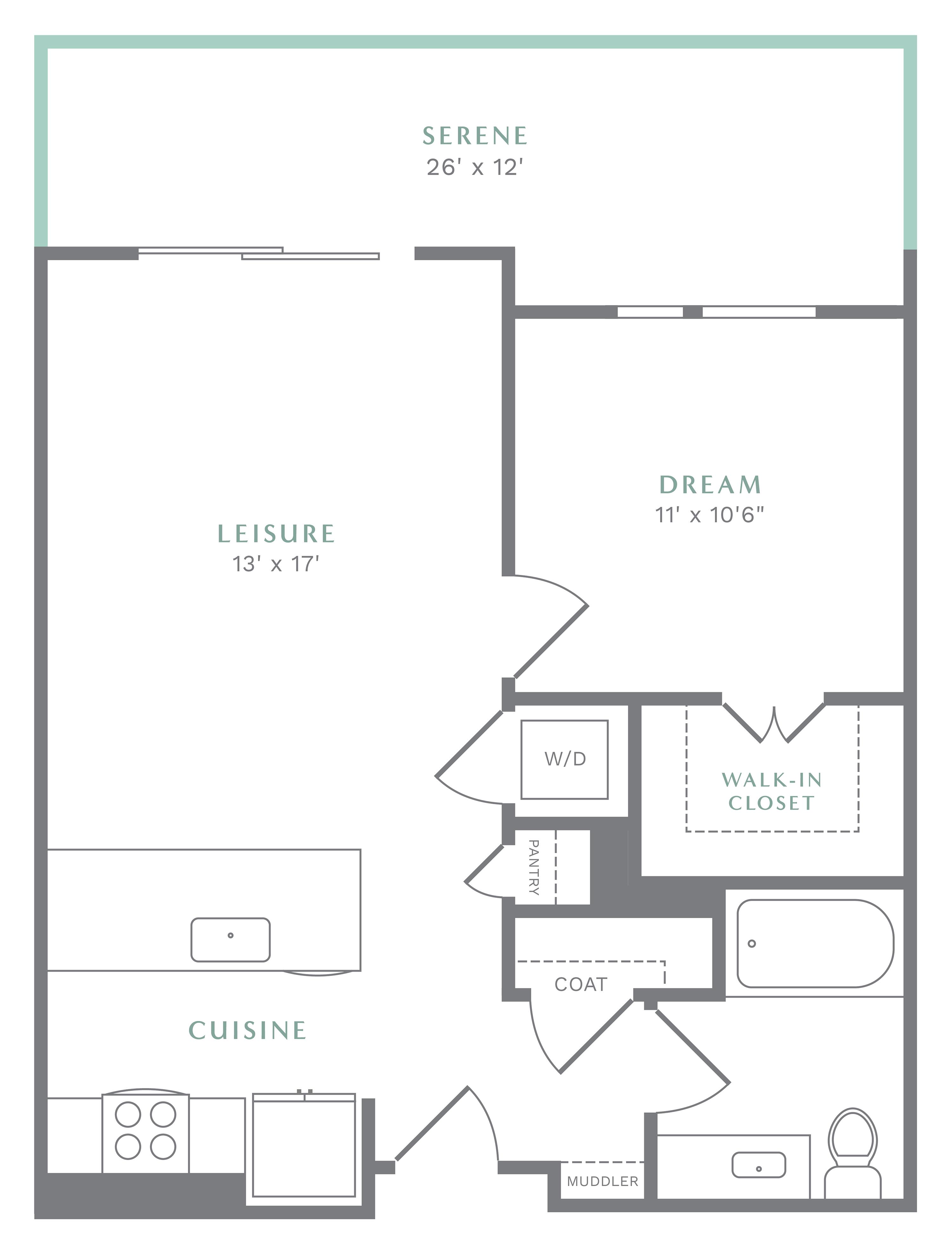 Alexan Heartwood One Bedroom Floor Plan A3