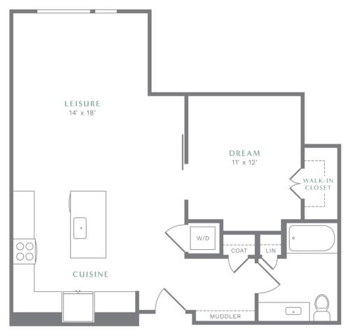 Alexan Heartwood One Bedroom Floor Plan A4