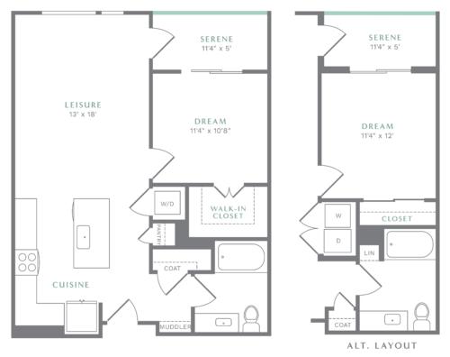 Alexan Heartwood One Bedroom Floor Plan A5