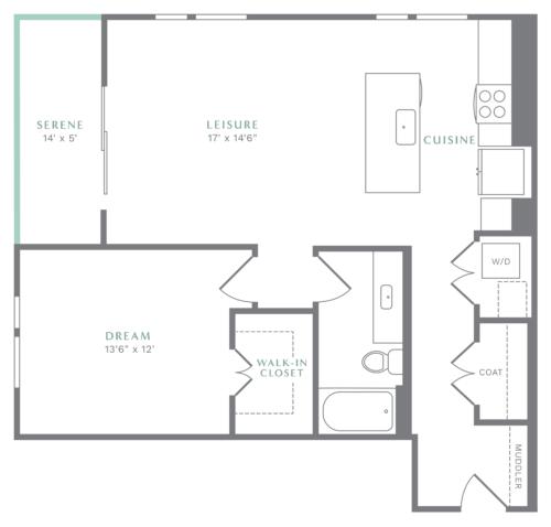 Alexan Heartwood One Bedroom Floor Plan A6