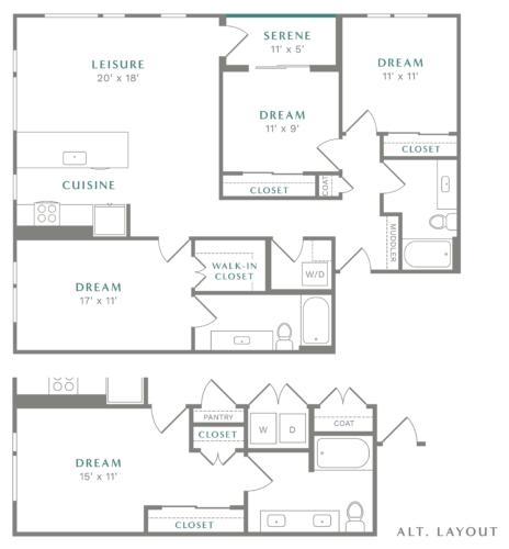 Alexan Heartwood Three Bedroom Floor Plan C1