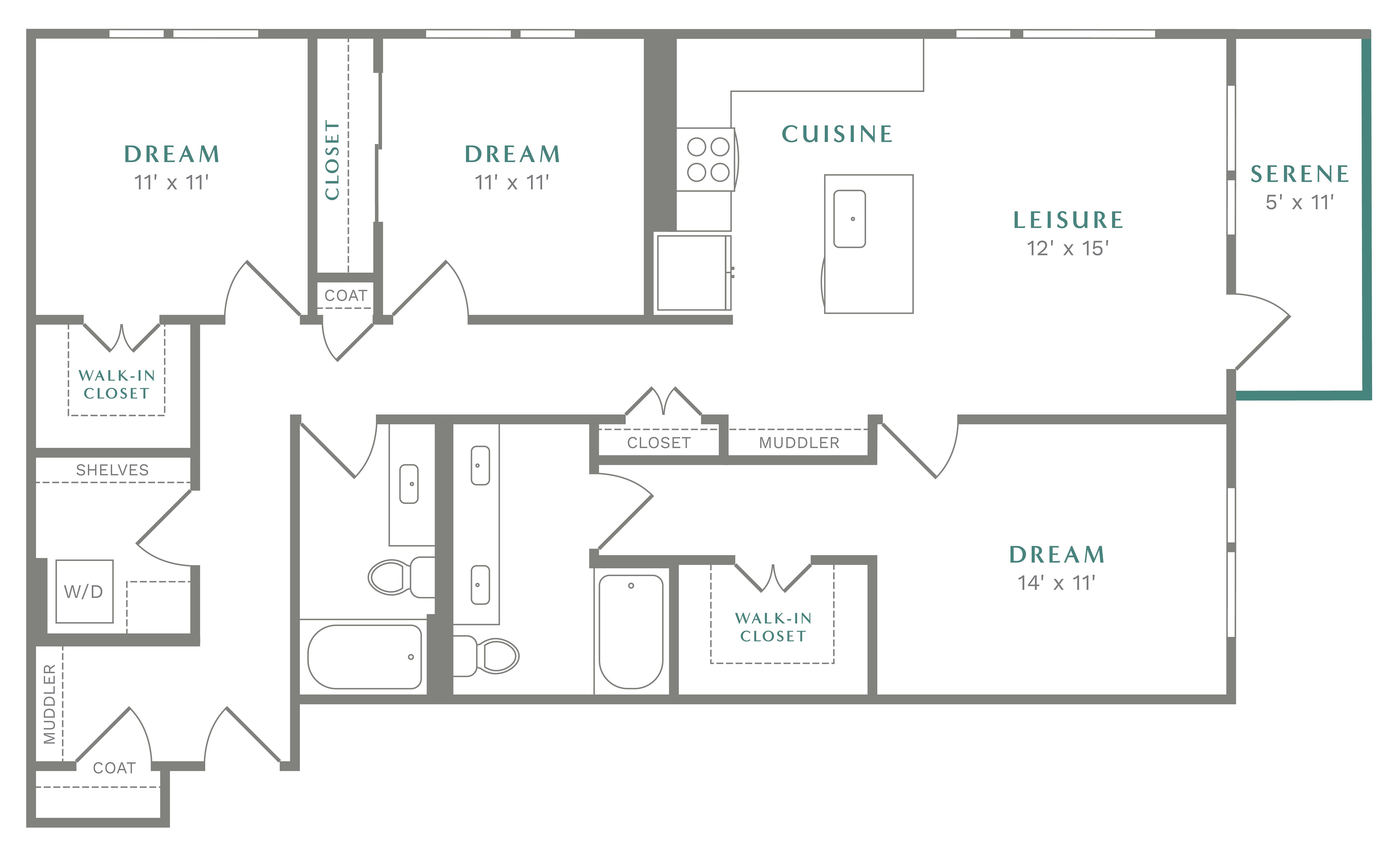 Alexan Heartwood Three Bedroom Floor Plan C2