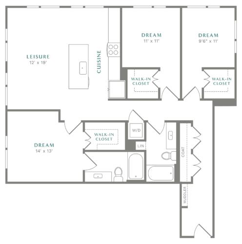 Alexan Heartwood Three Bedroom Floor Plan C3