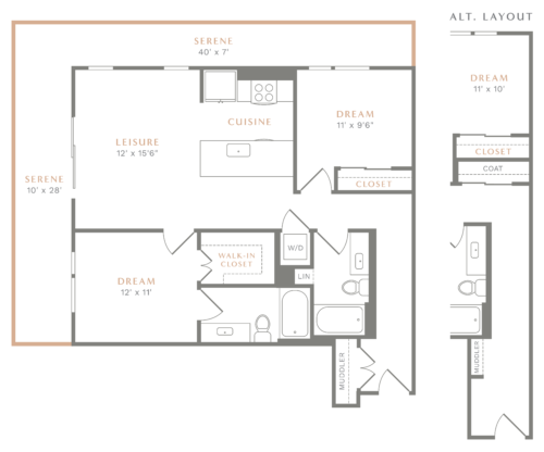 Alexan Heartwood Two Bedroom Floor Plan B1