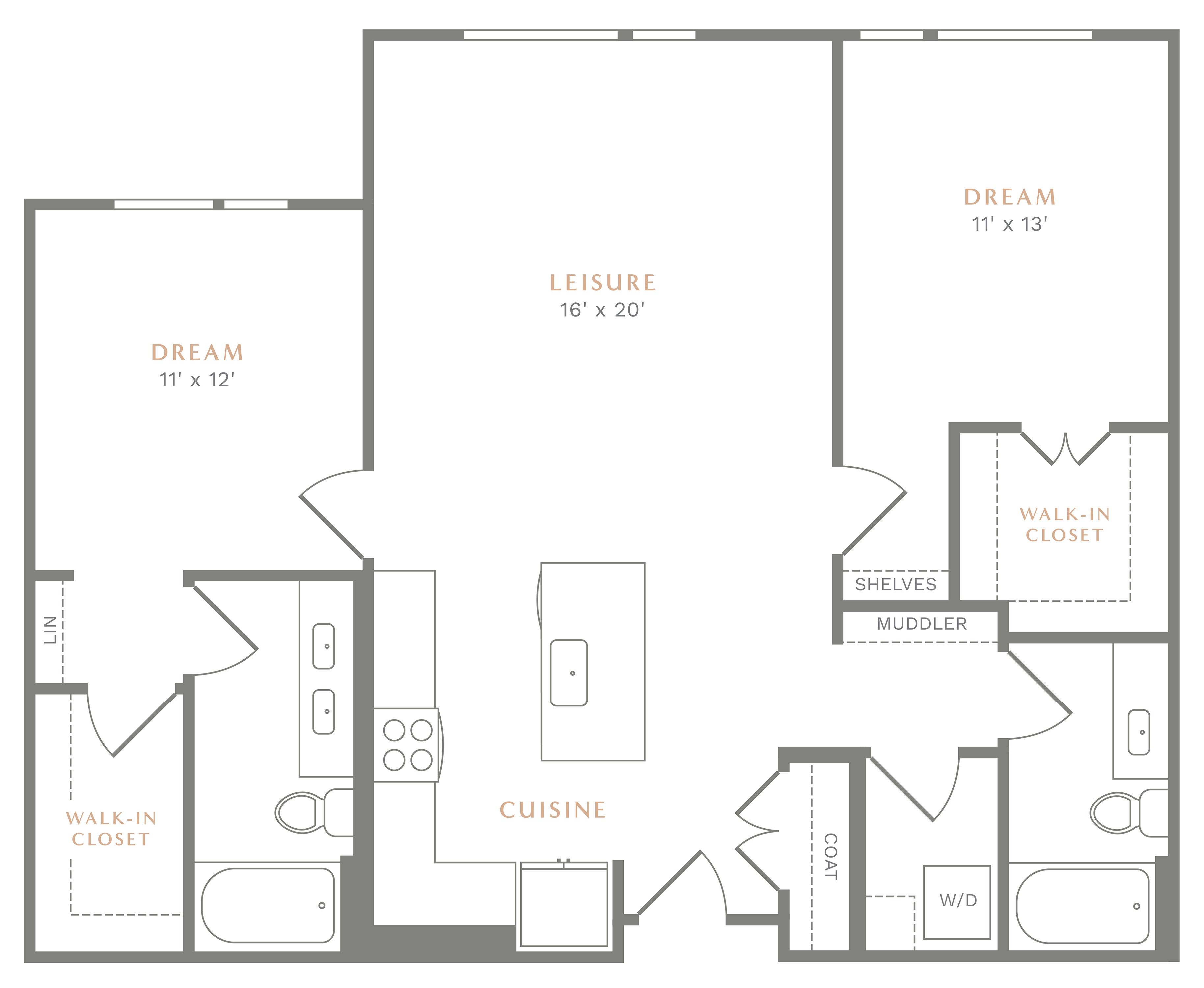 Alexan Heartwood Two Bedroom Floor Plan B10