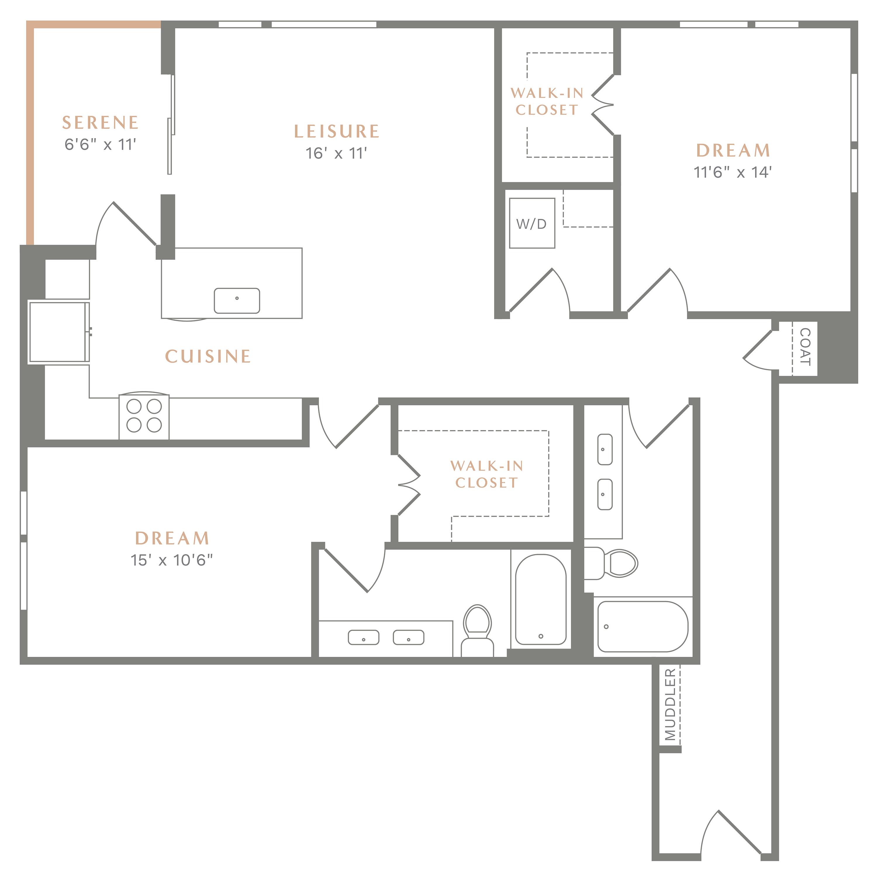 Alexan Heartwood Two Bedroom Floor Plan B11