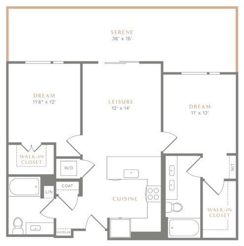 Alexan Heartwood Two Bedroom Floor Plan B2
