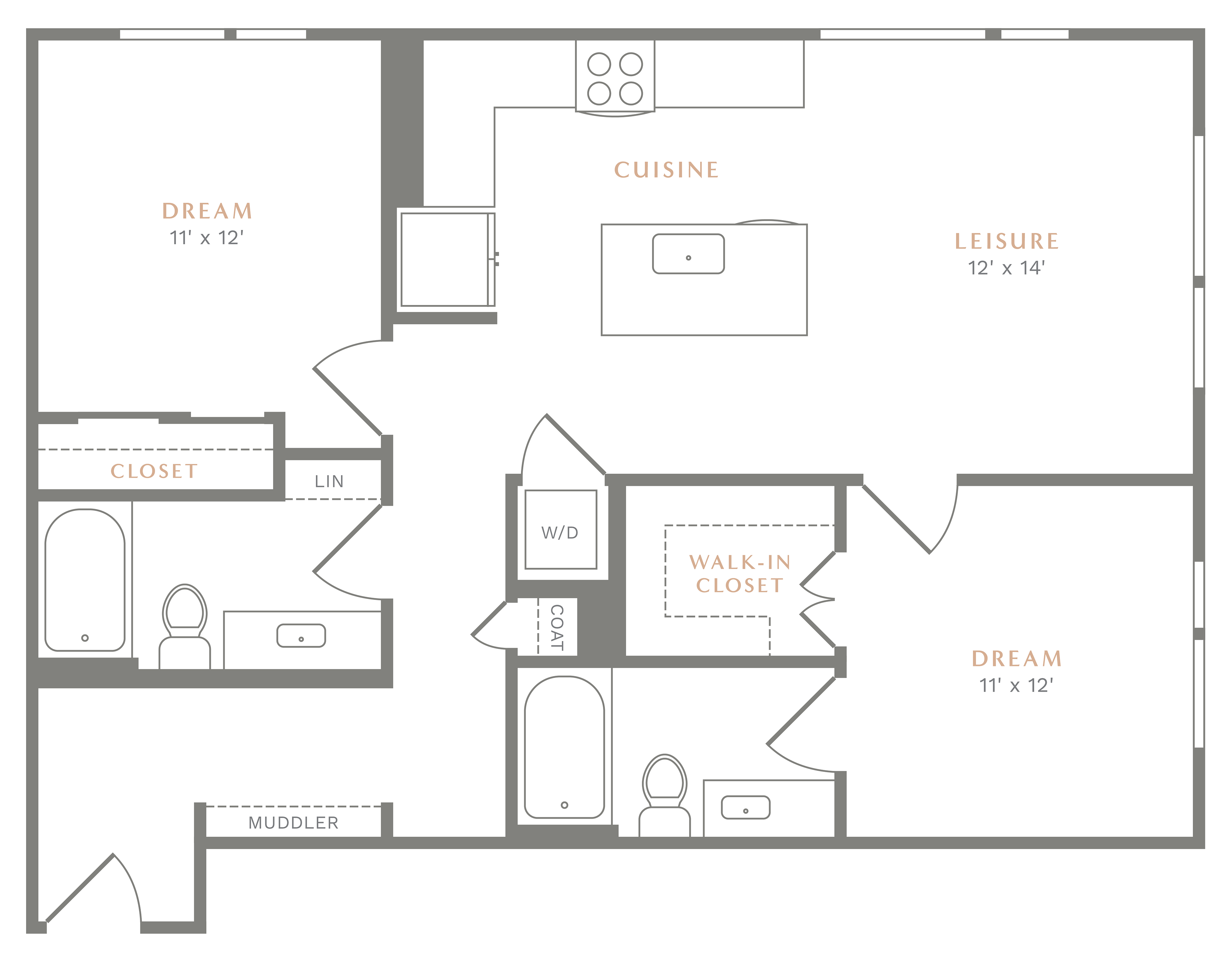 Alexan Heartwood Two Bedroom Floor Plan B3