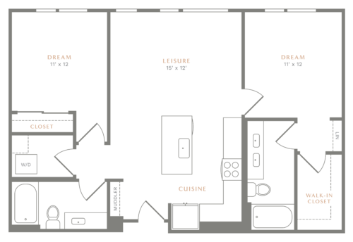 Alexan Heartwood Two Bedroom Floor Plan B4