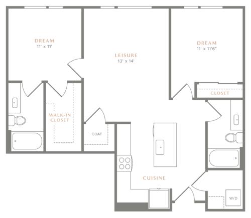 Alexan Heartwood Two Bedroom Floor Plan B5