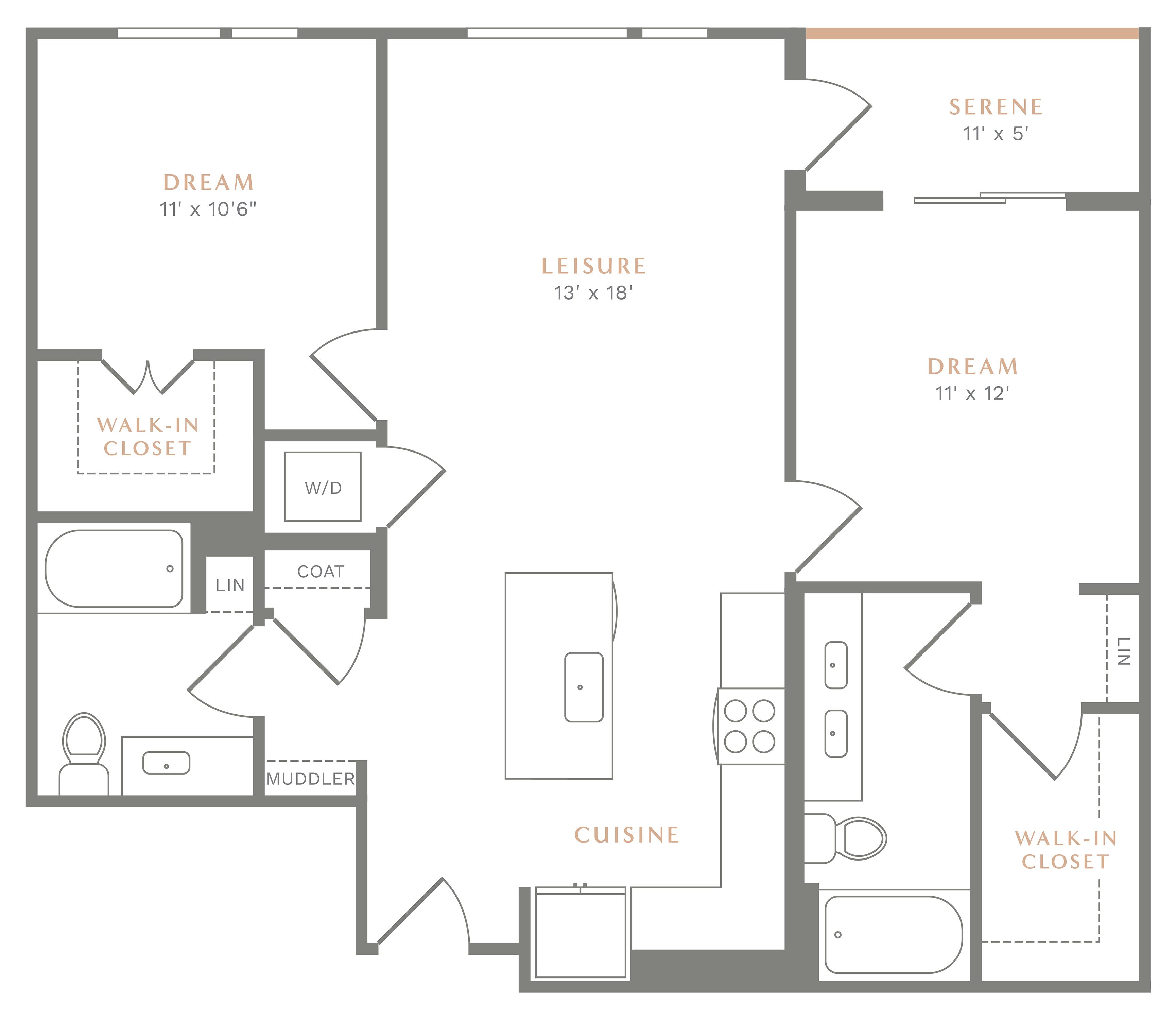 Alexan Heartwood Two Bedroom Floor Plan B6
