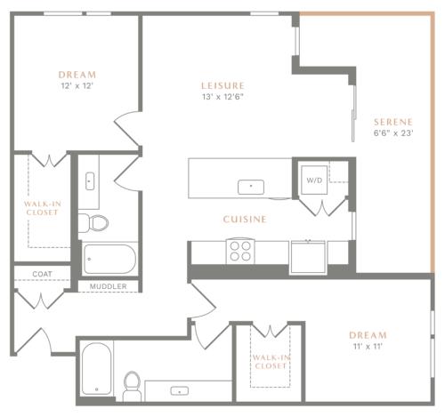 Alexan Heartwood Two Bedroom Floor Plan B8