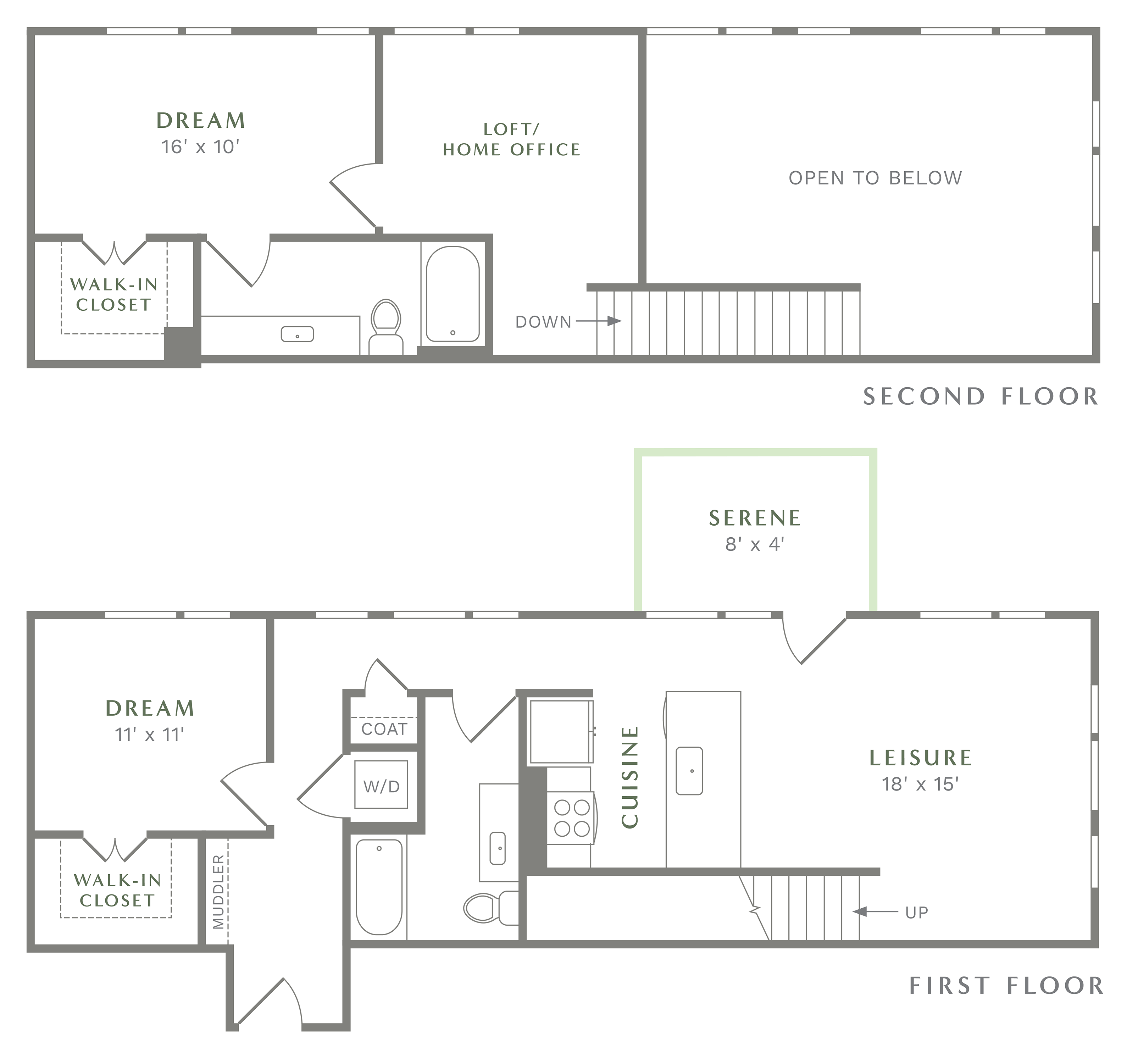 Alexan Heartwood Two Bedroom Townhome Floor Plan TH1